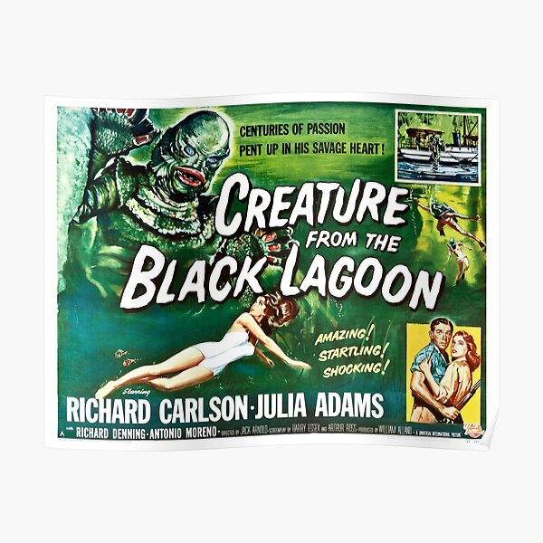 CREATURE FROM THE BLACK LAGOON Hollywood Horror Film Vintage Movie Poster