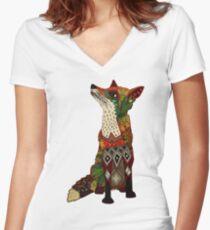 Blumenfuchs Tailliertes T-Shirt mit V-Ausschnitt