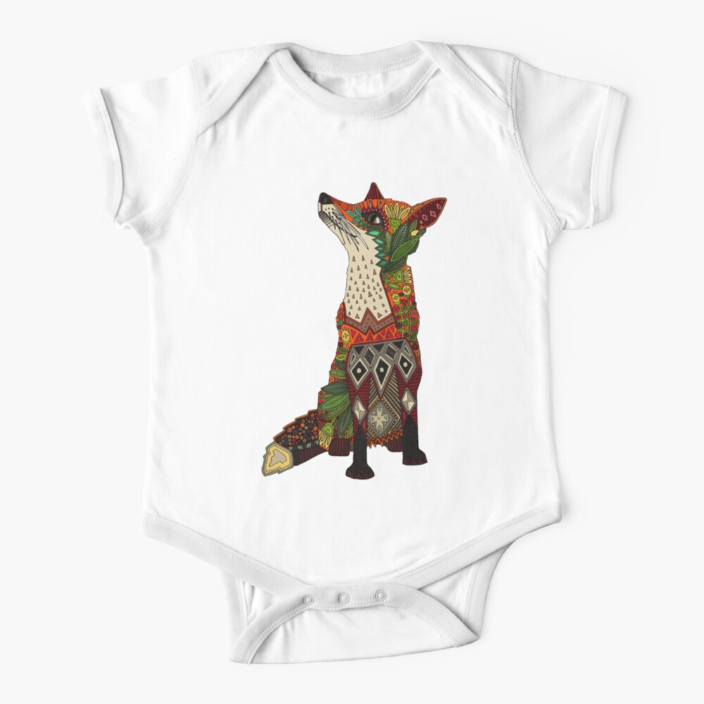 floral fox Baby One-Piece