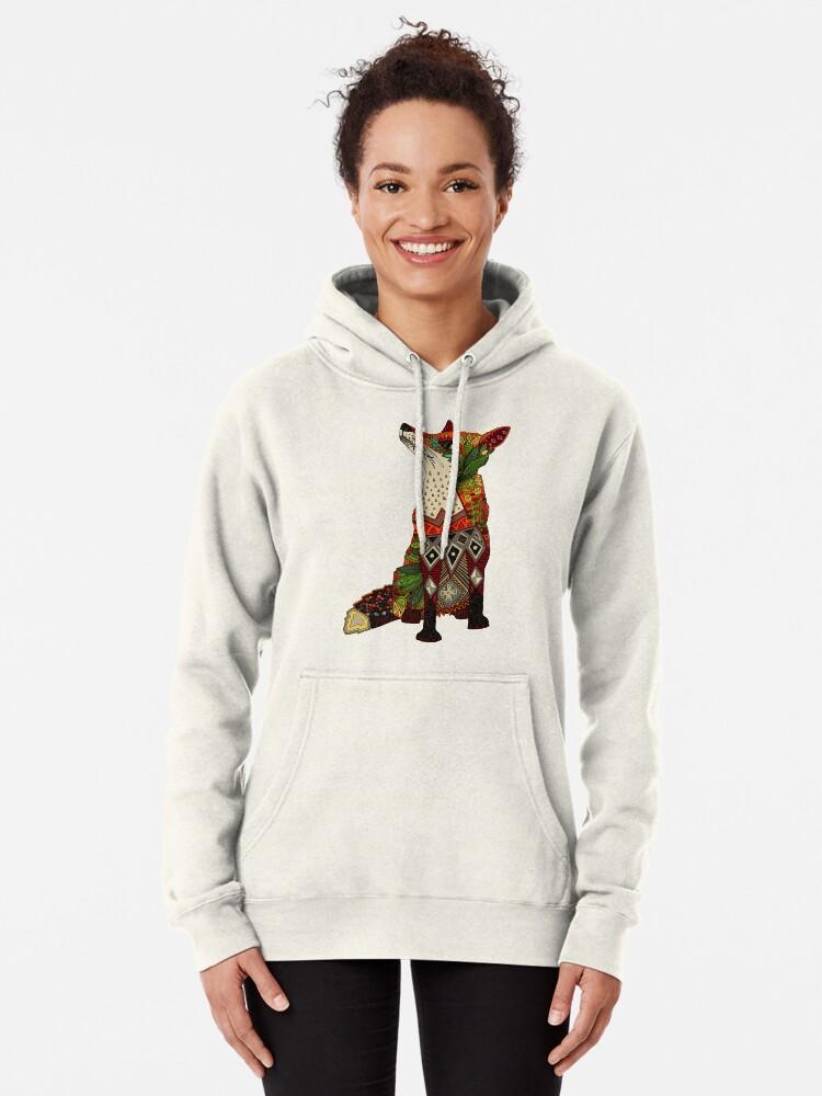 Alternate view of floral fox Pullover Hoodie