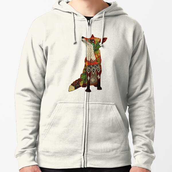floral fox Zipped Hoodie