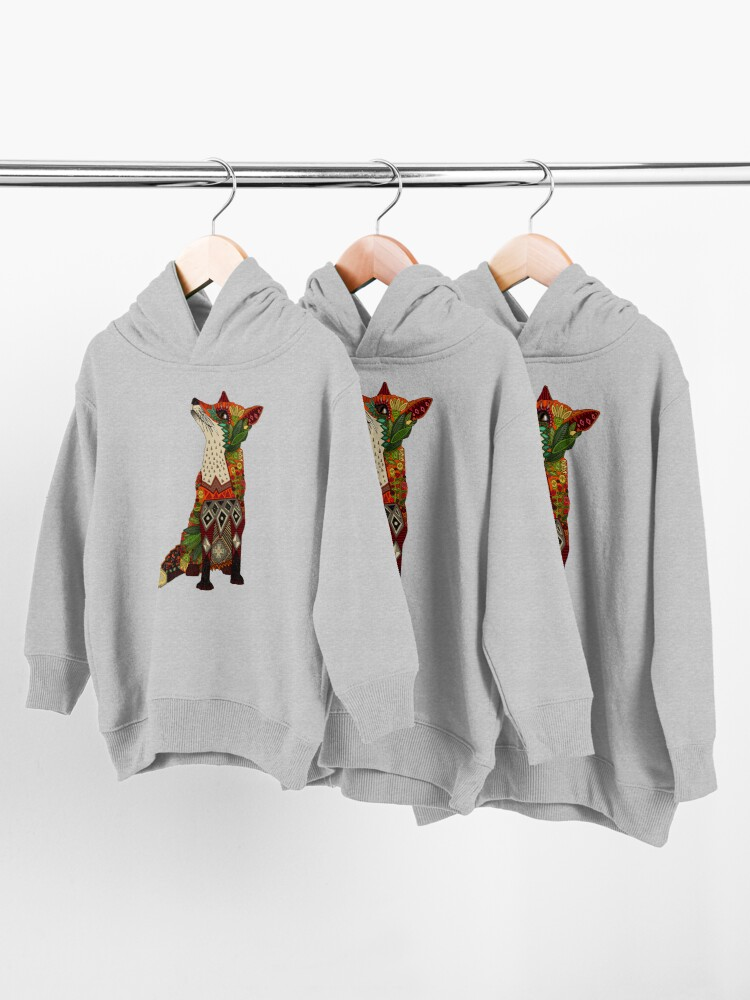 Alternate view of floral fox Toddler Pullover Hoodie