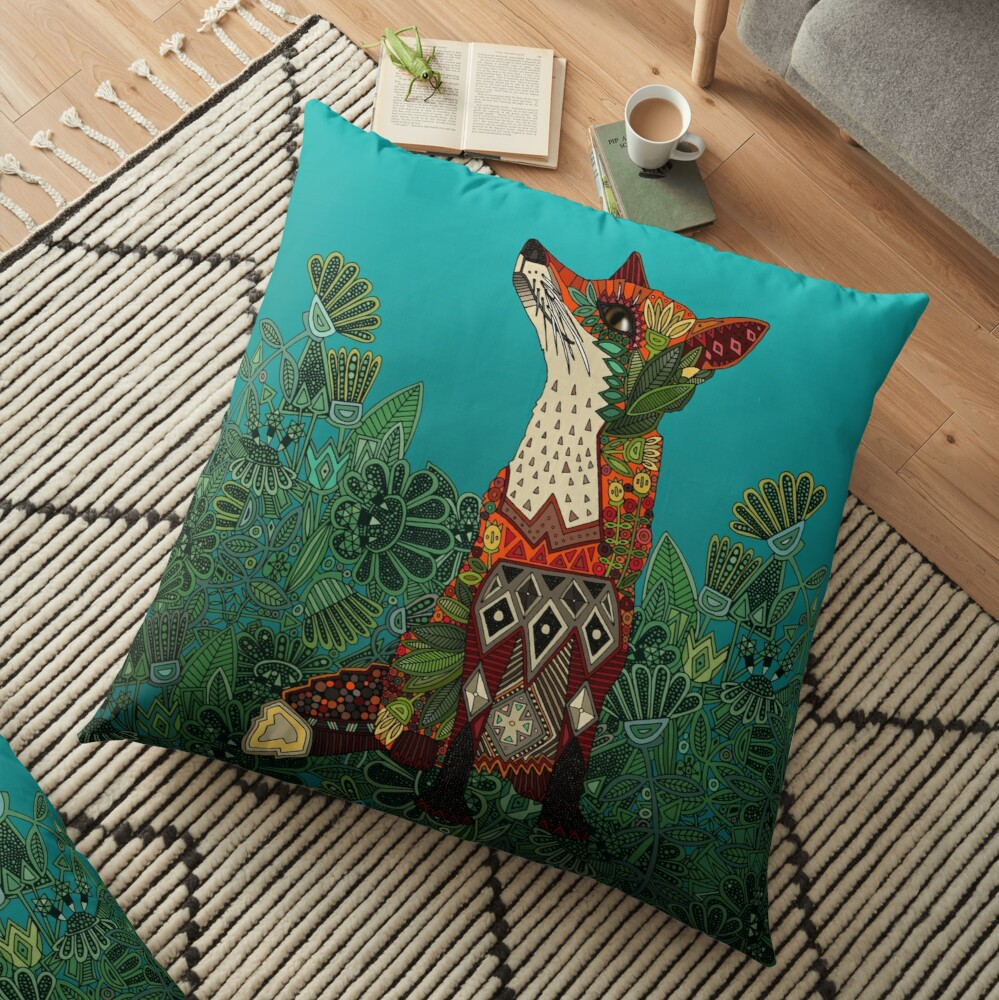 floral fox Floor Pillow