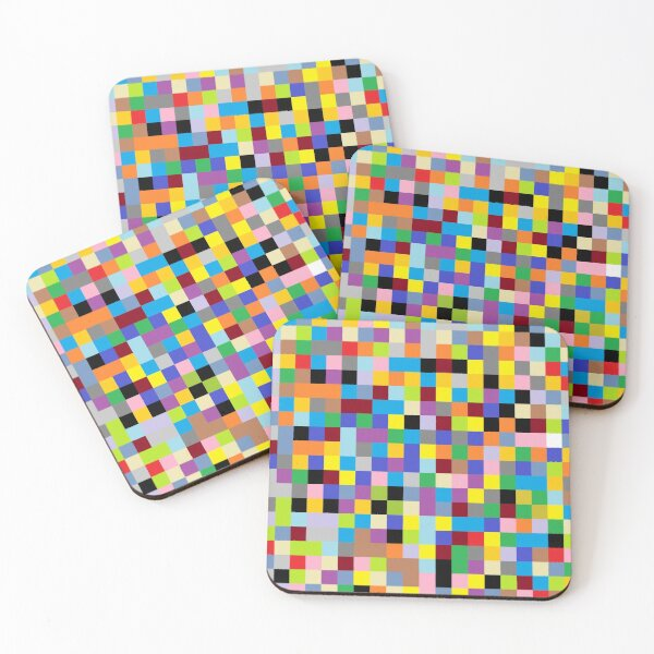 #Design, #pattern, #illustration, #art, abstract, square, pixel, mosaic, color image Coasters (Set of 4)