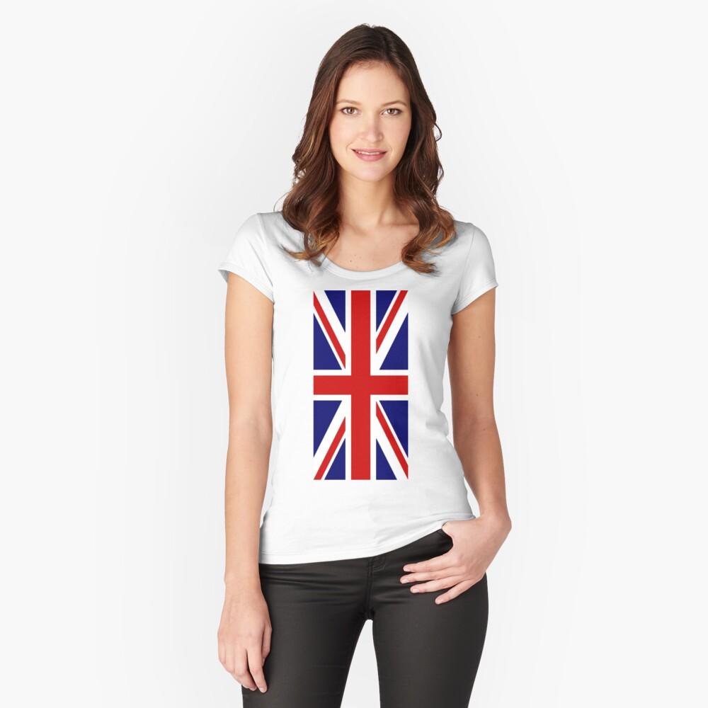 British, Union Jack, PORTRAIT, Flag, 1;2, UK, GB, United Kingdom, Pure & simple  Tailliertes Rundhals-Shirt