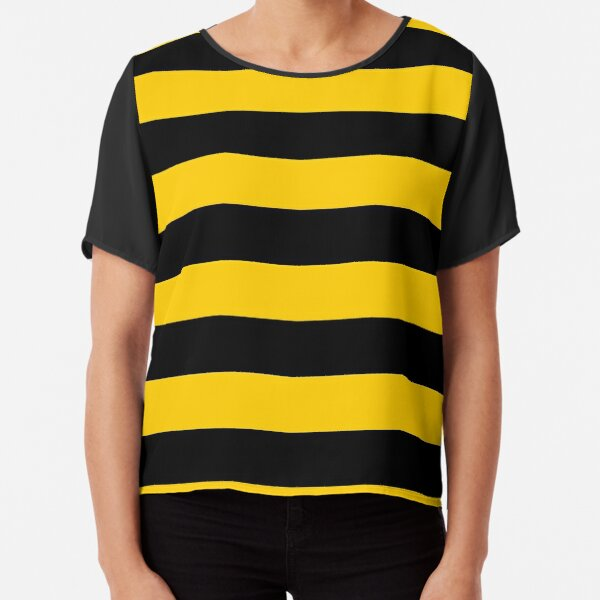 Bee pattern black and yellow stripes Chiffon Top