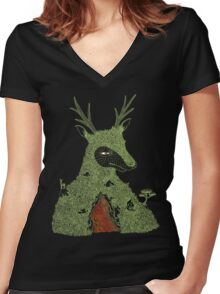 Stag at the Heart of the Mountain Women's Fitted V-Neck T-Shirt