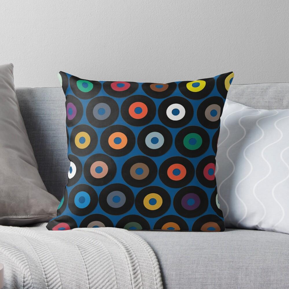 VINYL blue Throw Pillow
