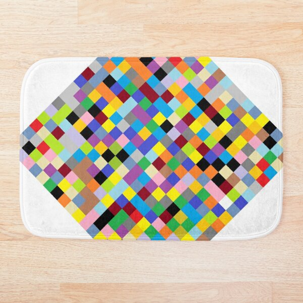 #Design, #pattern, #illustration, #art, abstract, square, pixel, color image Bath Mat
