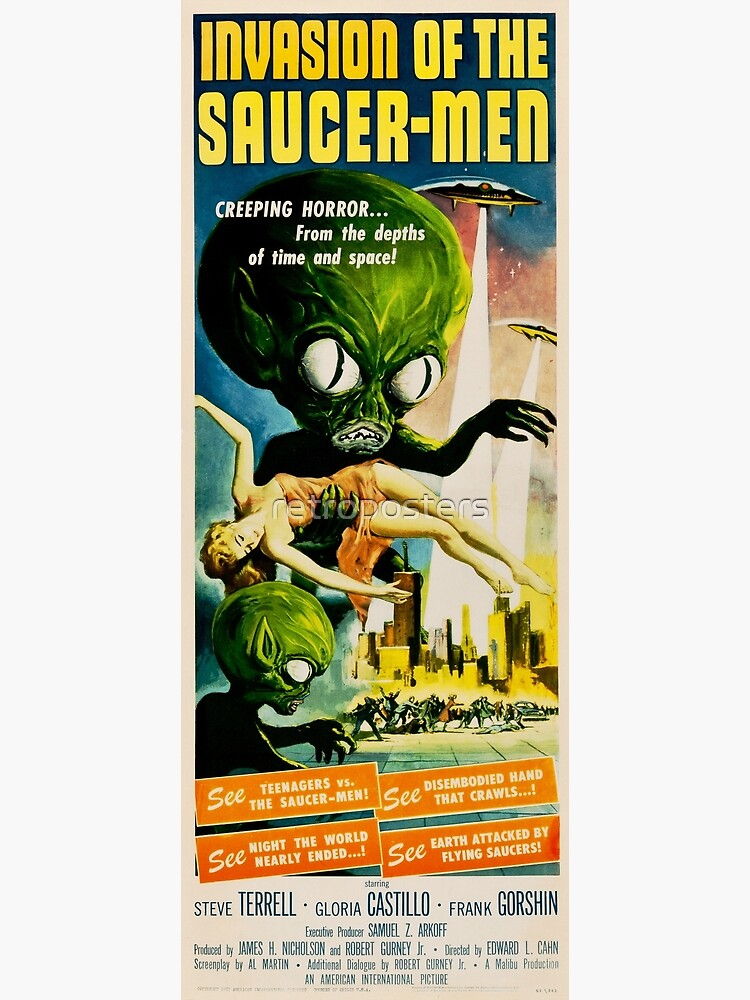 INVASION OF THE SAUCER MEN Retro Alien Sci Fi Vintage Movie by retroposters