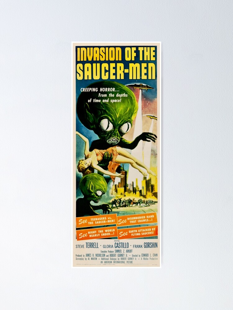 Alternate view of INVASION OF THE SAUCER MEN Retro Alien Sci Fi Vintage Movie Poster