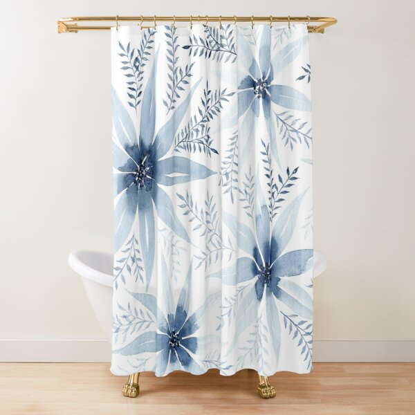 Winter Flowers   Watercolour Painting Shower Curtain