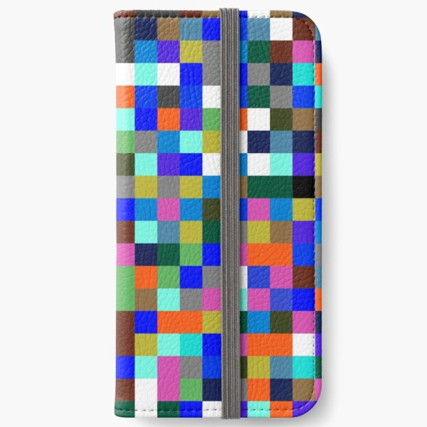#Design, #pattern, #illustration, #art, abstract, square, pixel, color image iPhone Wallet
