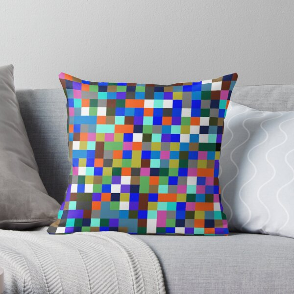 #Design, #pattern, #illustration, #art, abstract, square, pixel, color image Throw Pillow