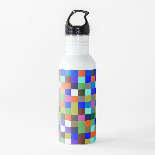 #Design, #pattern, #illustration, #art, abstract, square, pixel, color image Water Bottle