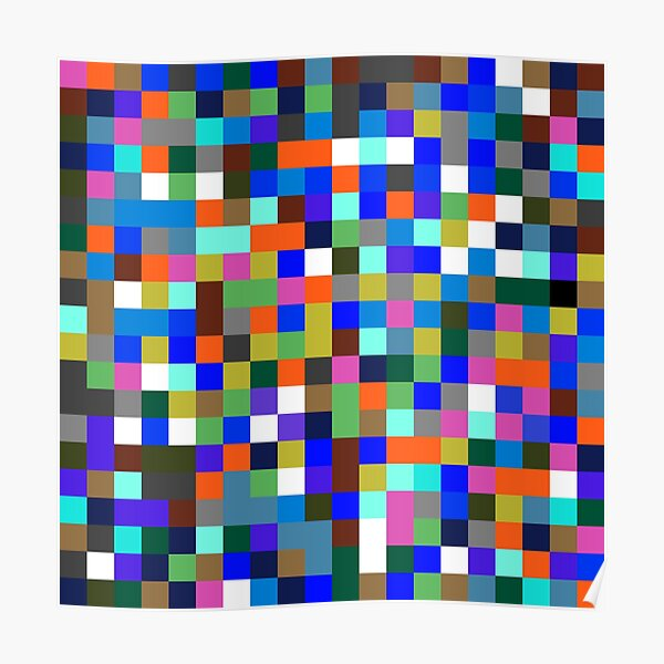#Design, #pattern, #illustration, #art, abstract, square, pixel, color image Poster
