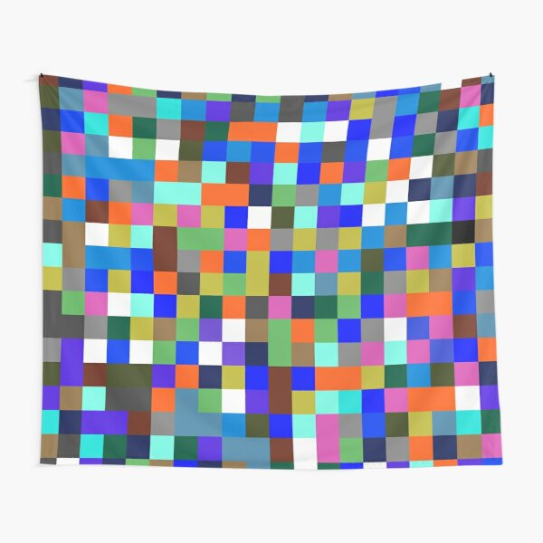 #Design, #pattern, #illustration, #art, abstract, square, pixel, color image Tapestry
