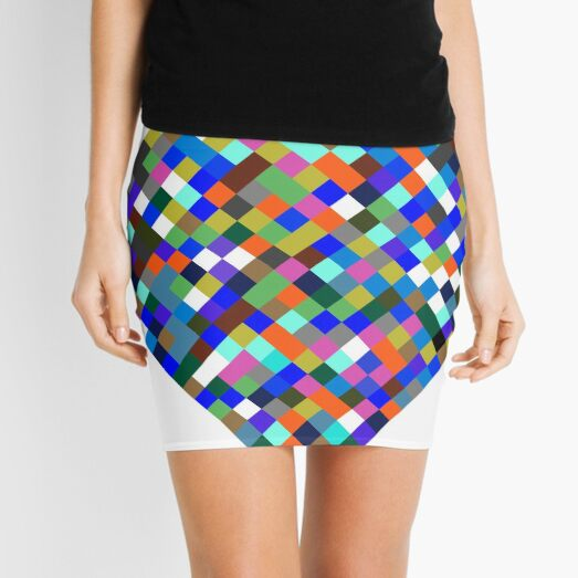 #Design, #pattern, #illustration, #art, abstract, square, pixel, color image Mini Skirt