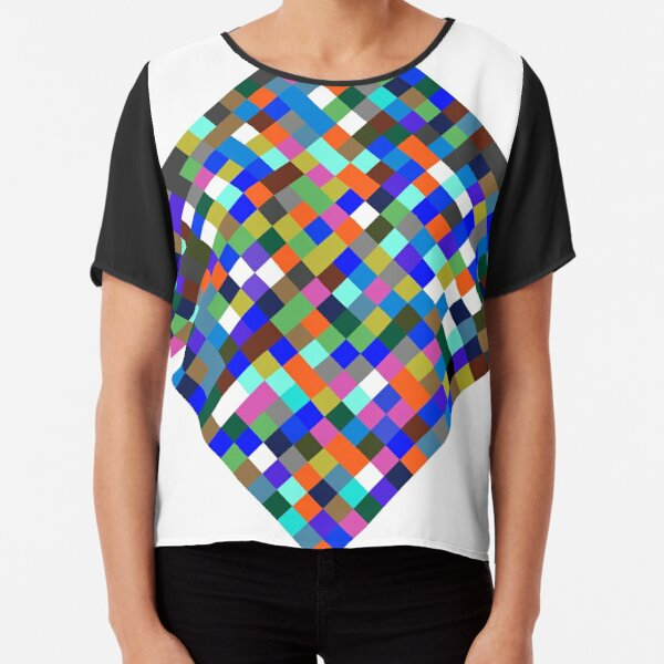 #Design, #pattern, #illustration, #art, abstract, square, pixel, color image Chiffon Top