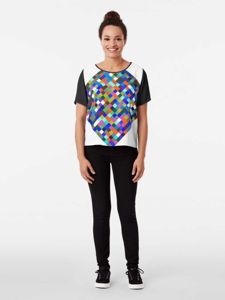 Alternate view of #Design, #pattern, #illustration, #art, abstract, square, pixel, color image Chiffon Top