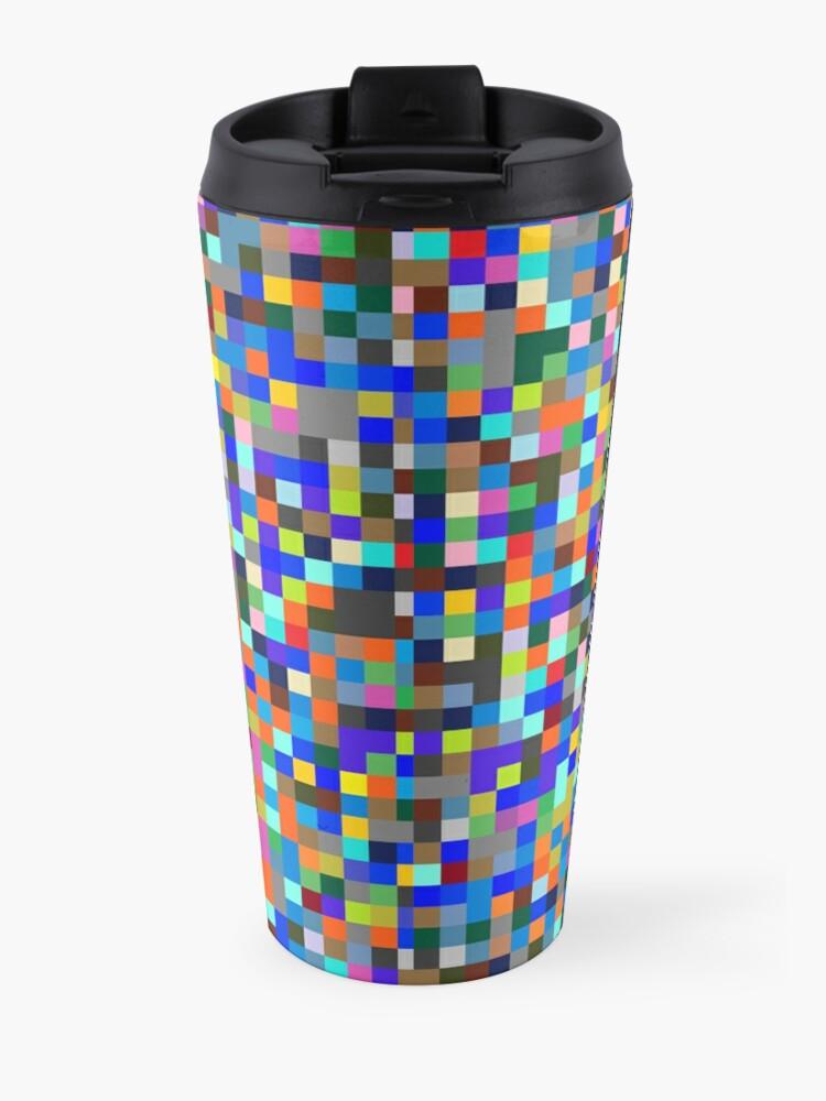 Alternate view of #Design, #pattern, #illustration, #art, abstract, square, pixel, color image Travel Mug