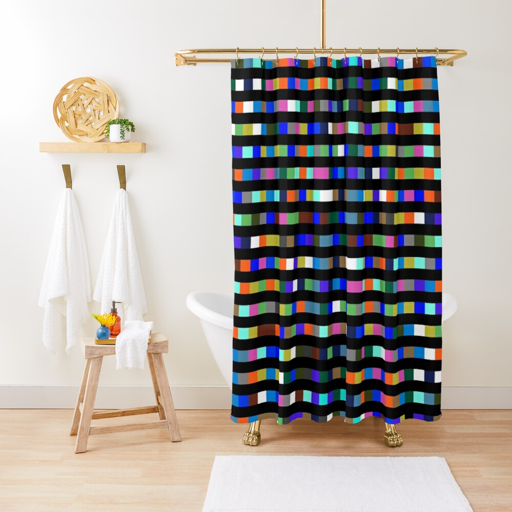 #Design, #abstract, #square, #pixel, art, pattern, illustration, vector, shade, tile, color image Shower Curtain