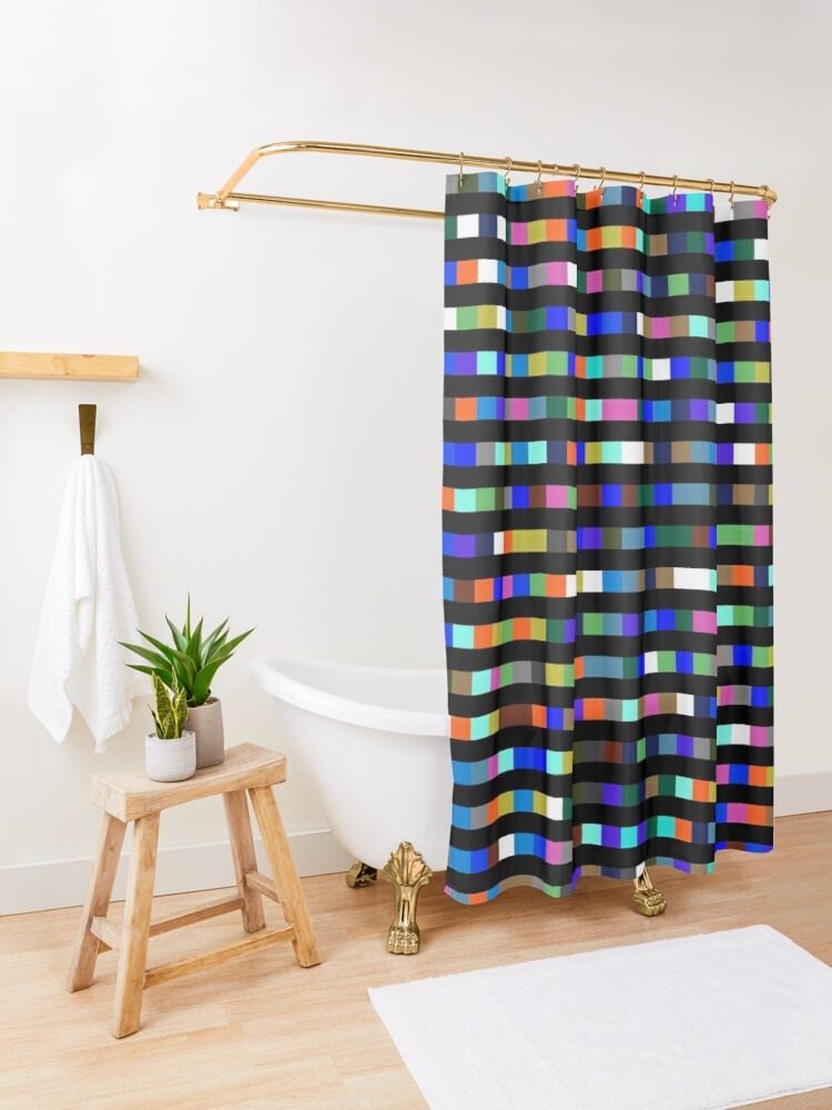 Alternate view of #Design, #abstract, #square, #pixel, art, pattern, illustration, vector, shade, tile, color image Shower Curtain