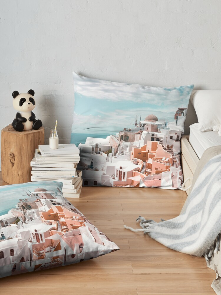 Alternate view of Santorini Oia Greece Floor Pillow