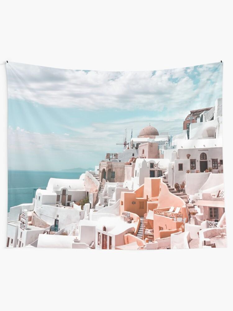 Alternate view of Santorini Oia Greece Tapestry