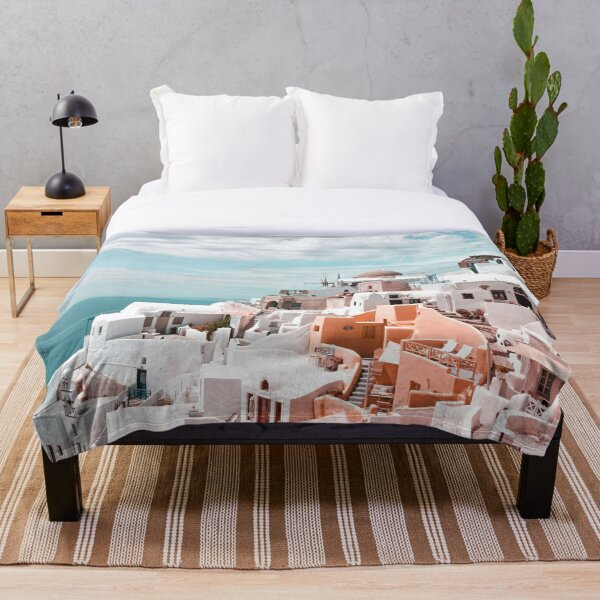 Santorini Oia Greece Throw Blanket