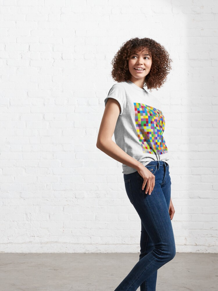 Alternate view of #Design, #pattern, #illustration, #art, abstract, square, pixel, color image Classic T-Shirt