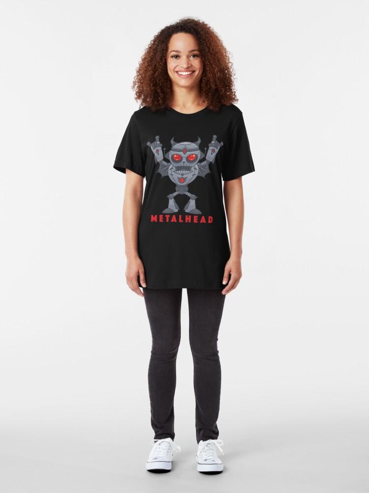 Alternate view of Metalhead - Heavy Metal Robot Devil - With Text Slim Fit T-Shirt