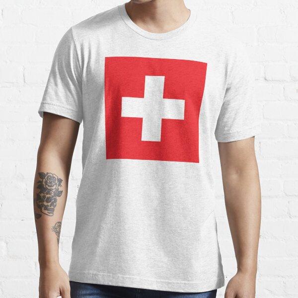Swiss. Switzerland. Swiss Flag. Flag of Switzerland. White Cross. Swiss Confederation. Essential T-Shirt