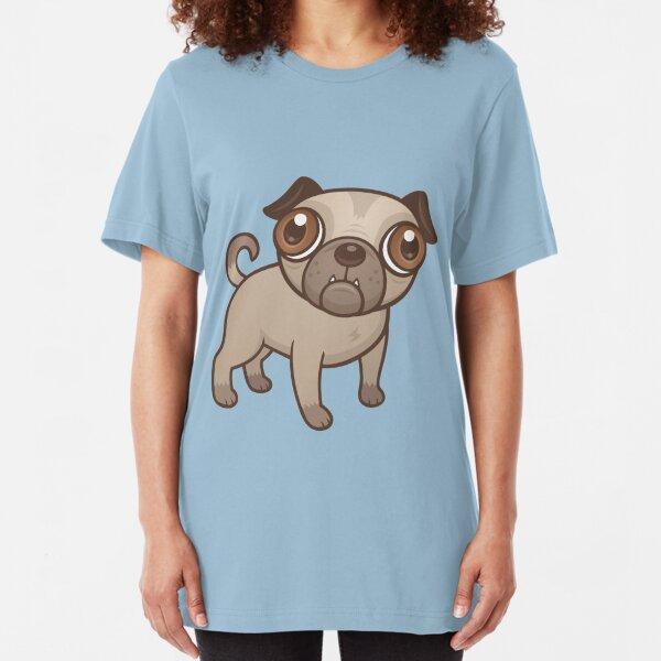 Pug Puppy Cartoon Slim Fit T-Shirt