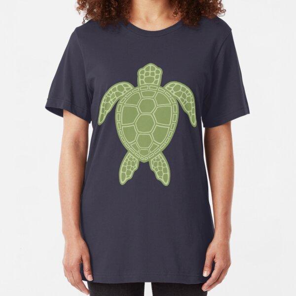 Green Sea Turtle Design Slim Fit T-Shirt