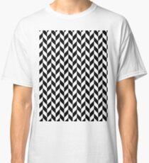 Black Painted Herringbone on White Classic T-Shirt