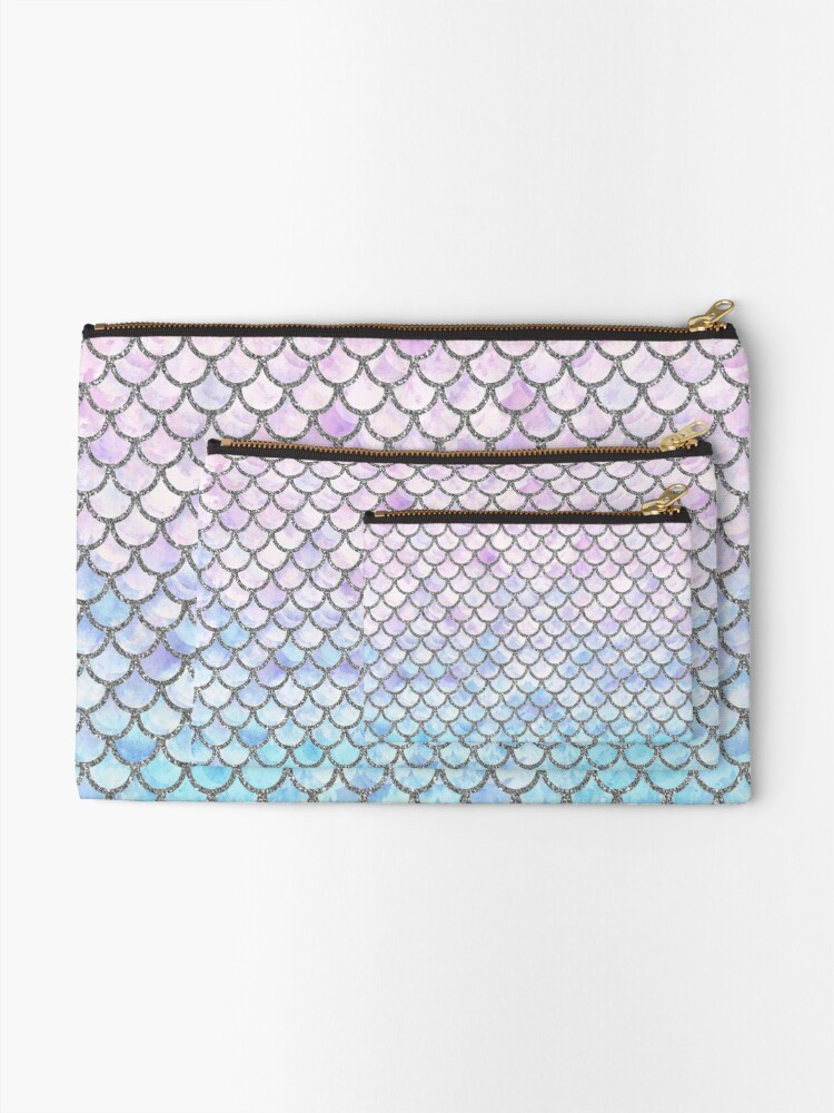 Mermaid scales metalic zipper pouch medium