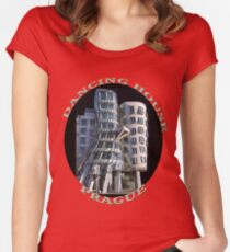 *•.¸♥♥¸.•*The Dancing House Prague TEE SHIRT WITH TEXT*•.¸♥♥¸.•* Women's Fitted Scoop T-Shirt