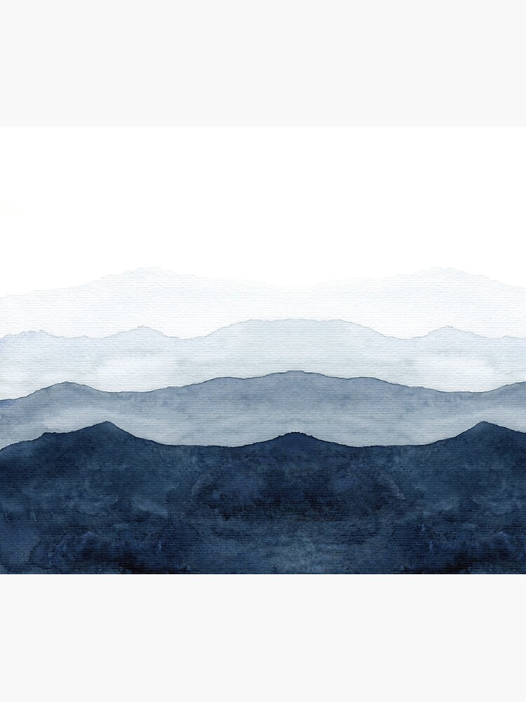 Mountains Ombre | Indigo Abstract Watercolor by ChipiArtPrints