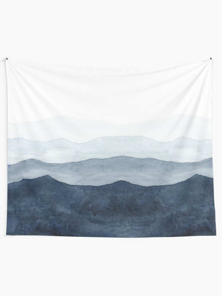 Alternate view of Mountains Ombre | Indigo Abstract Watercolor Tapestry