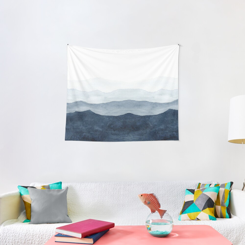 Mountains Ombre | Indigo Abstract Watercolor Tapestry