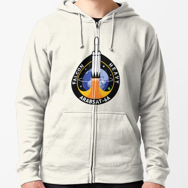 Space X Mission Patch - Falcon Heavy Arabsat-6A  Zipped Hoodie