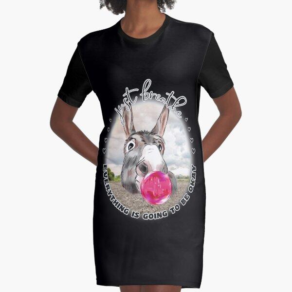 Just Breath Donkey Bubblegum  Graphic T-Shirt Dress