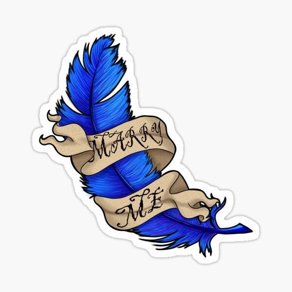 Blue Feather Proposal Sticker