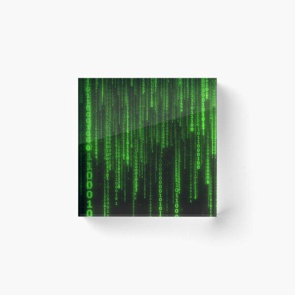 Matrix Green Code Password Acrylic Block