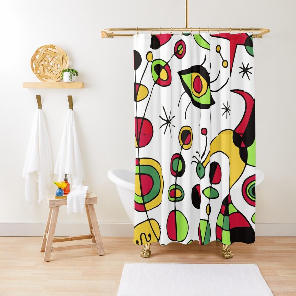 Joan Miro Peces De Colores (Colorful Fish ) Artwork for Posters Tshirts Prints Men Women Kids Shower Curtain
