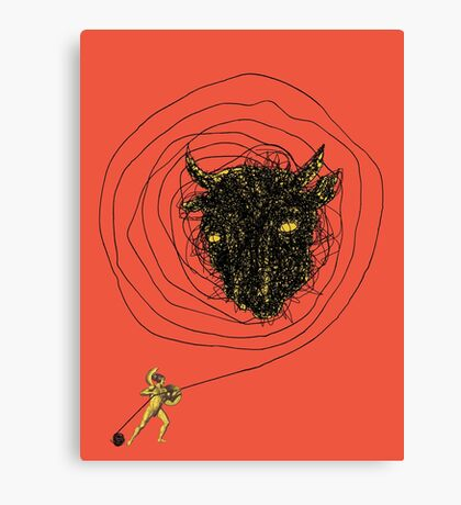 Theseus, the Minotaur, and the Thread Maze Canvas Print