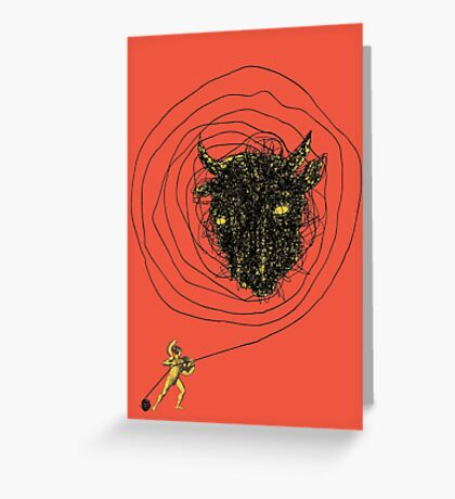 Theseus, the Minotaur, and the Thread Maze Greeting Card
