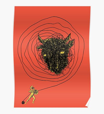 Theseus, the Minotaur, and the Thread Maze Poster