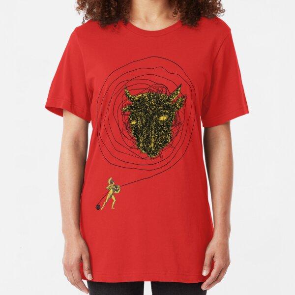 Theseus, the Minotaur, and the Thread Maze Slim Fit T-Shirt
